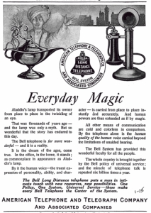 1910 Ad American Telephone Telegraph ATT Bell Everyday Magic