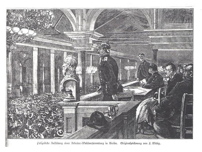 Auflösung einer Arbeiterversammlung_Illustrirte Zeitung 1890, S. 180